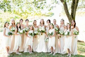 Bridesmaids in Ivory Gowns and Flower Girls with Eucalyptus Flower Crowns