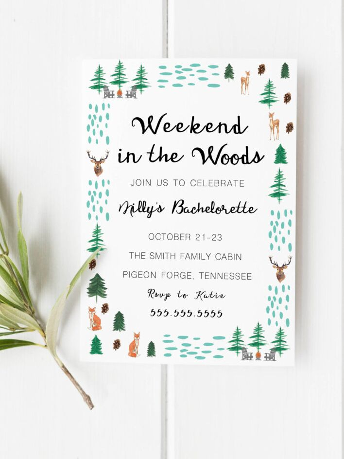 Rustic weekend in the woods bachelorette party printable invitation