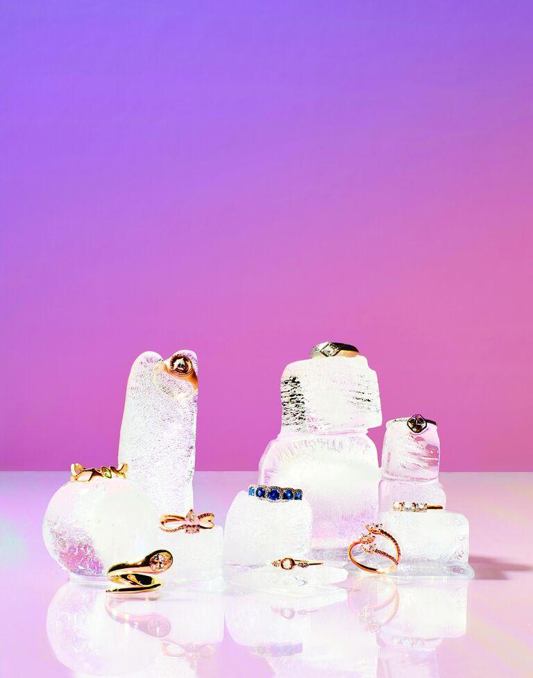 Wedding rings styled on blocks of ice