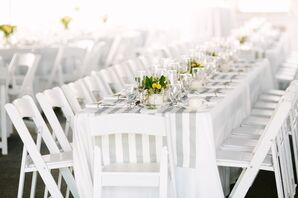 Gray and White Striped Table Linens