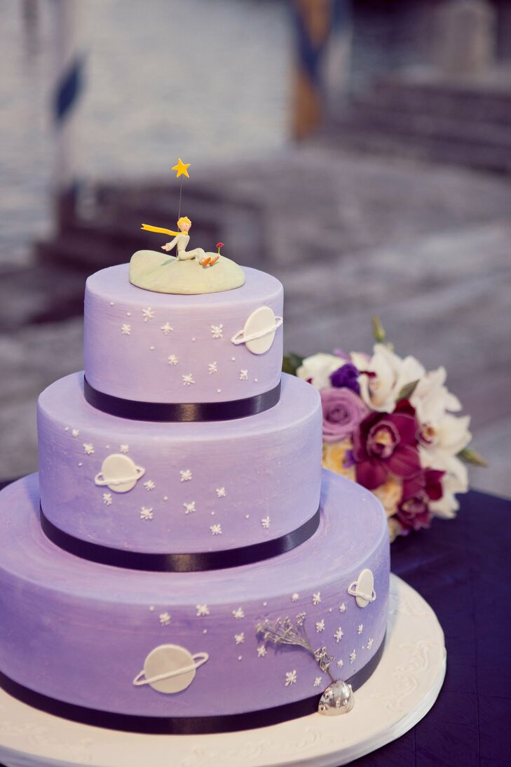 The purple cake followed the day's theme with a Little Prince cake topper.