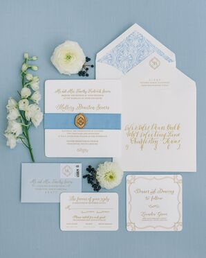 Elegant Gold Script Invitations With Pale Blue Accents