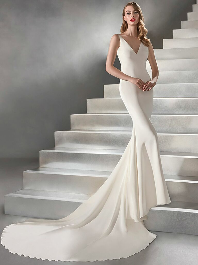 Atelier Provonias wedding dress thick strap trumpet gown with low back