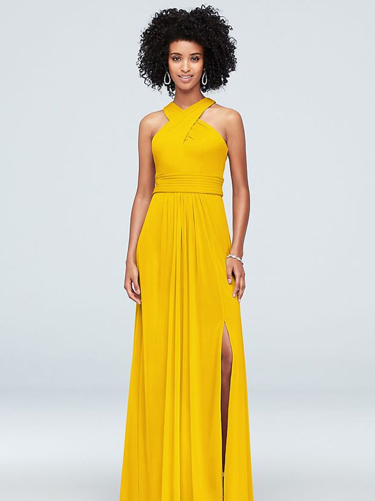 Long affordable yellow bridesmaid dress