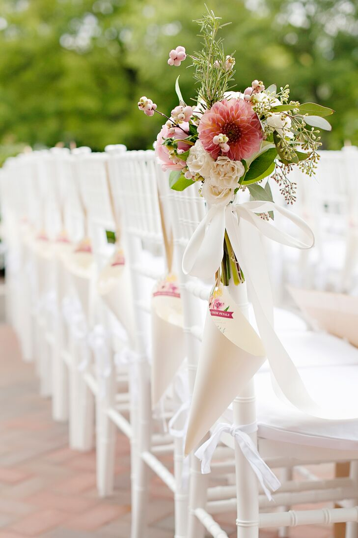 Classic Chiavari Chairs with Pink Dahlia Decoration