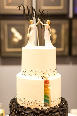 Rainbow Cake with Mrs. and Mrs. Cake Topper