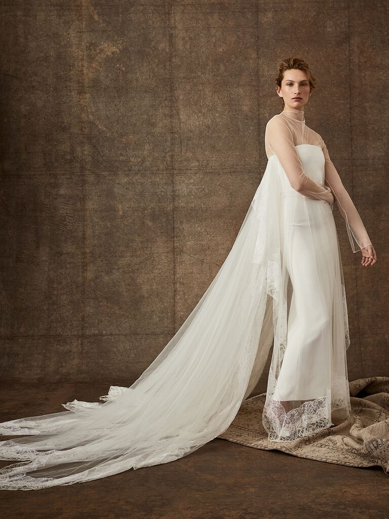 Danielle Frankel Spring 2020 Bridal Collection illusion long sleeve wedding dress with dramatic train