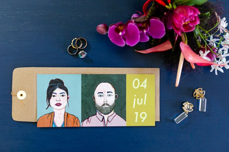 Modern, Eclectic Save-the-Date with Personalized Artwork