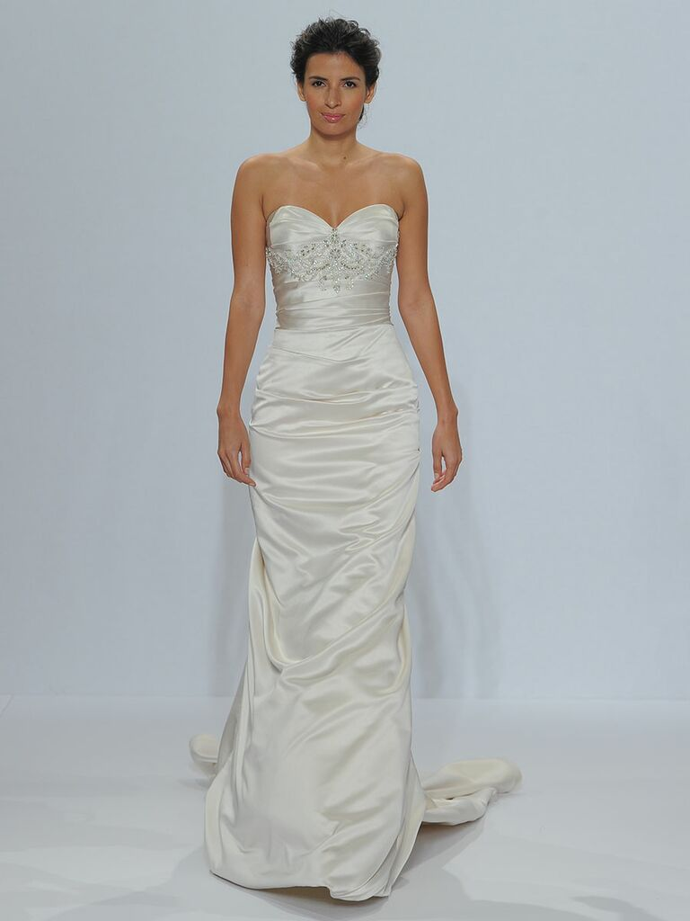 Randy Fenoli Spring 2018 strapless sweetheart trumpet gown of swag-draped satin and crystal, 3-D beading under bust line and corseted back