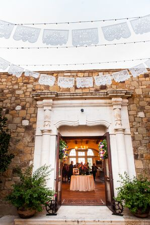 Custom White Mexican Papel Picado at the Reception