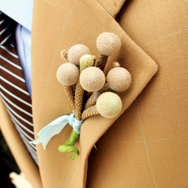 """Rebecca loved the guys' unique leucadendron boutonnieres. """"I asked for something small and funky,"""" she says, """"and that's exactly what they were!"""""""