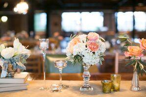 Elegant Garden Rose, Hydrangea and Candle Centerpieces