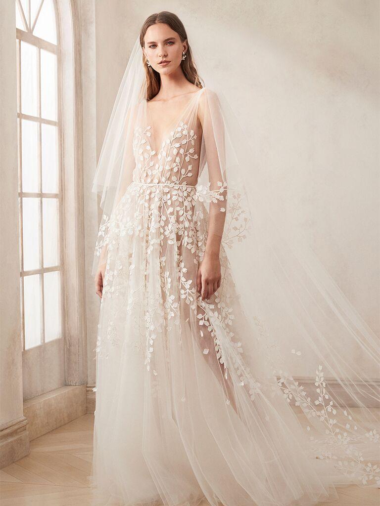 oscar de la renta airy gown with floral designs