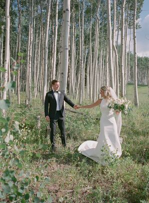 Bride and Groom Among Aspen Trees in Colorado