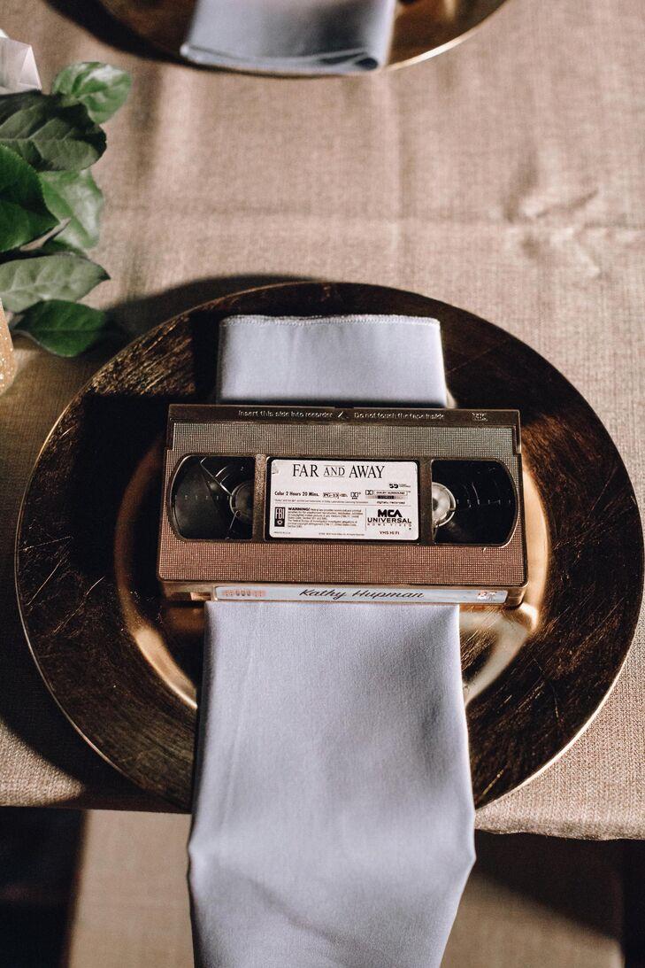 Retro VHS tape escort cards at Movie-Inspired Wedding