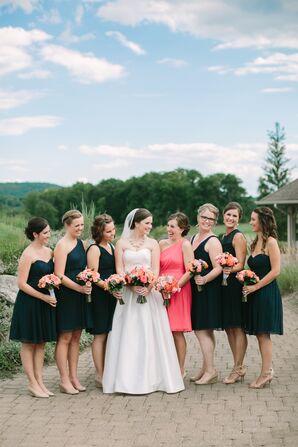 Navy Knee-Length Chiffon Bridesmaid Dresses
