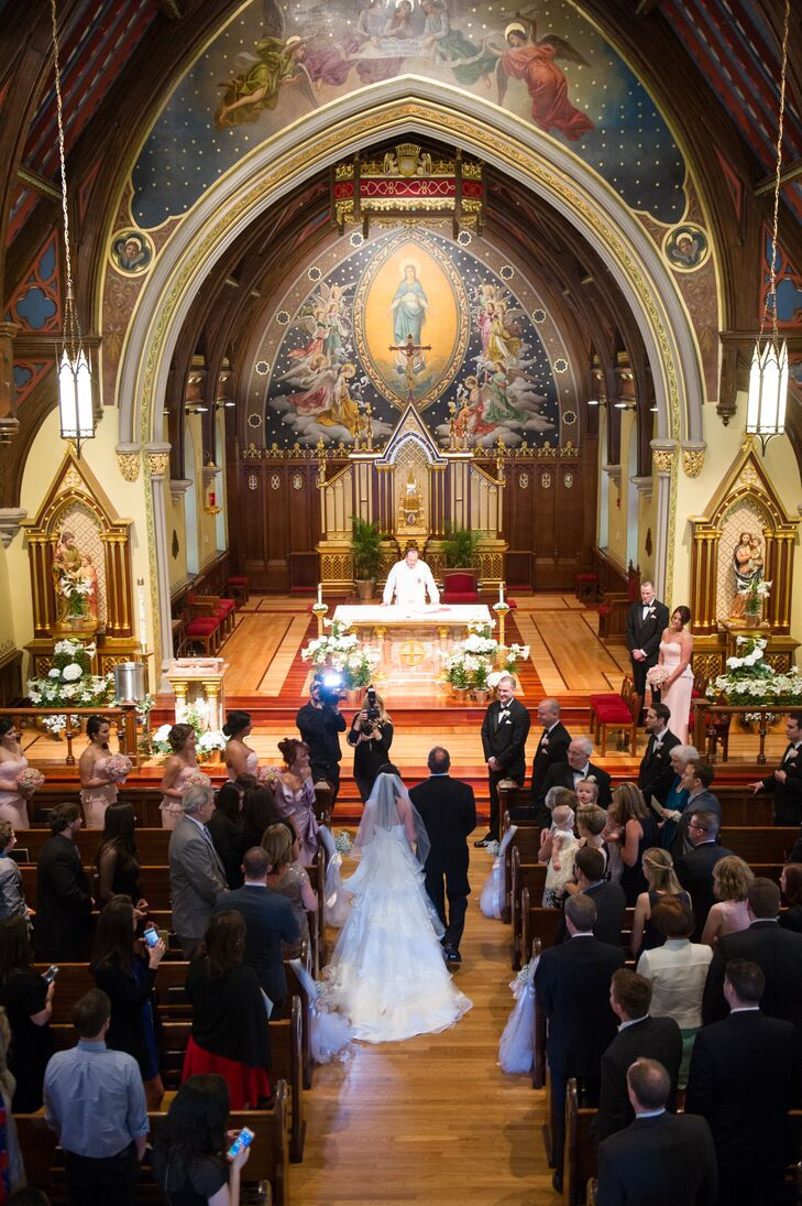 The couple exchanged vows in a traditional Catholic ceremony at the Chapel of Immaculate Conception on Seaton Hall's campus in South Orange, New Jersey.