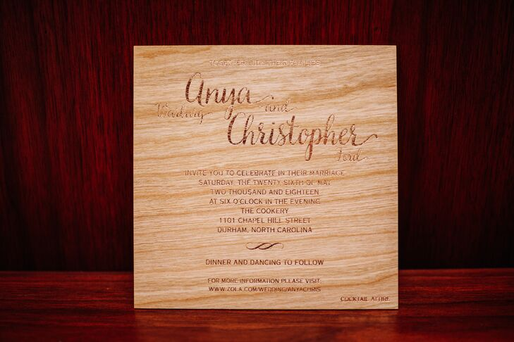 Engraved Wood Wedding Invitation with Calligraphy