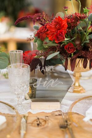 Modern Geometric Table Number and Red Floral Centerpiece