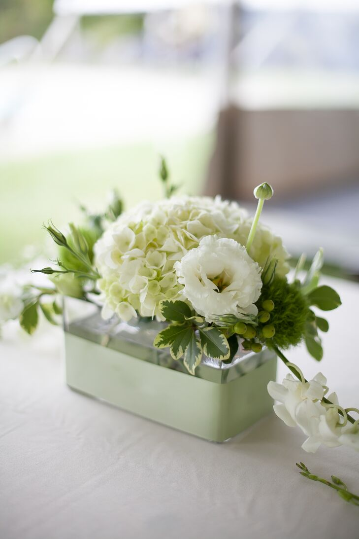 Each arrangement from Redshaw Flower Shop added a natural touch to the couple's tented reception. White hydrangeas, lisianthus and orchids filled the center while green dianthus, green hypericum berries and leaves highlighted each side. Green ribbon also wrapped around each clear glass breakaway vase to represent their soft wedding color.