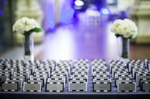 Black and White Striped Escort Cards