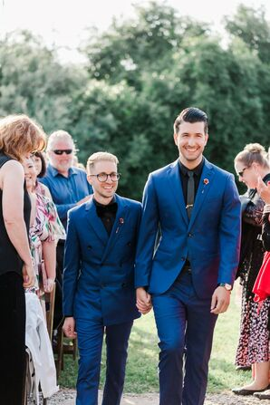 Modern Grooms with Matching Blue Suits and Black Shirts