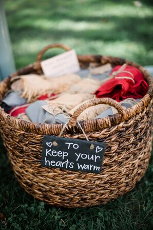 Pashmina Favors in a Basket with a Chalkboard Sign