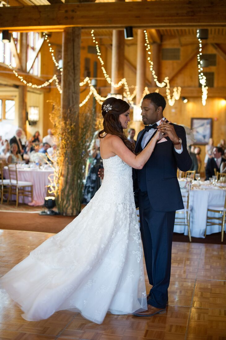 First Dance in Rustic Venue with String Lights