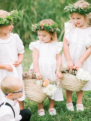 Flower Girls with Baskets and Flower Crowns