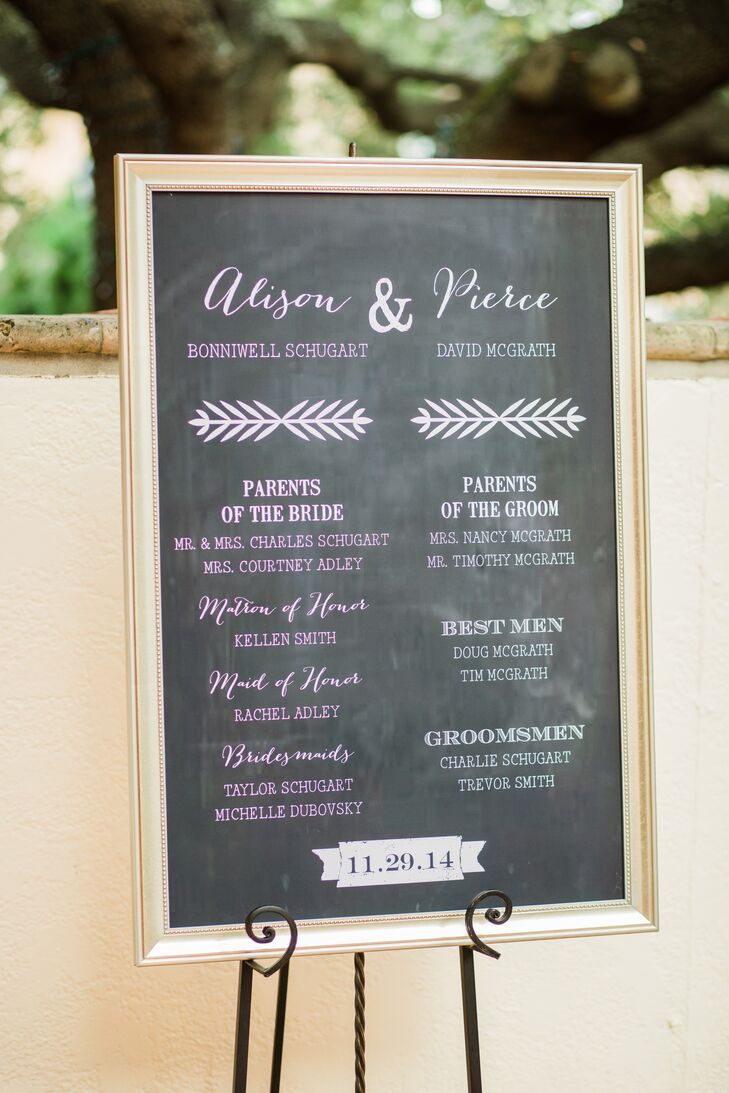 The ceremony program was a custom chalkboard created by Katie & Co. It had whimsical ombre calligraphy fading from pink (Alison's side) to white (Pierce's side).