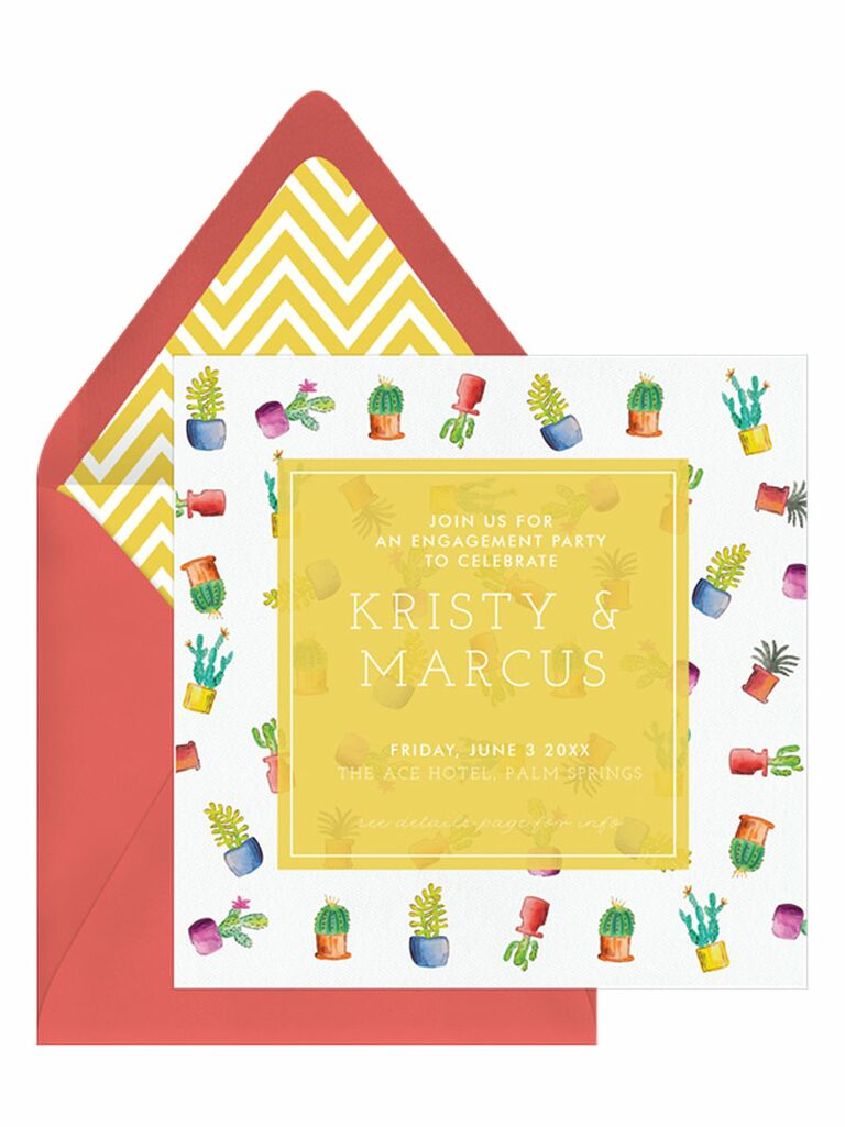 Red cactus engagement party invitation