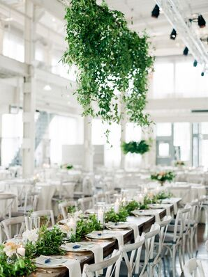 Hanging Greenery Installation in Industrial Reception Space