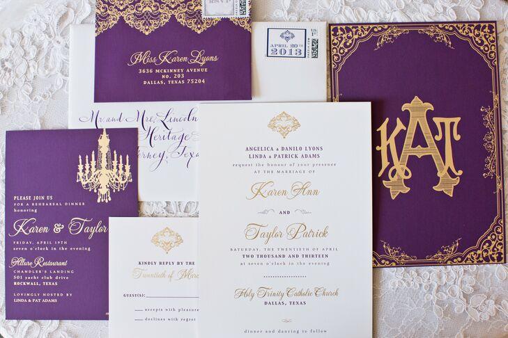 Chic Purple And Gold Wedding Invitation