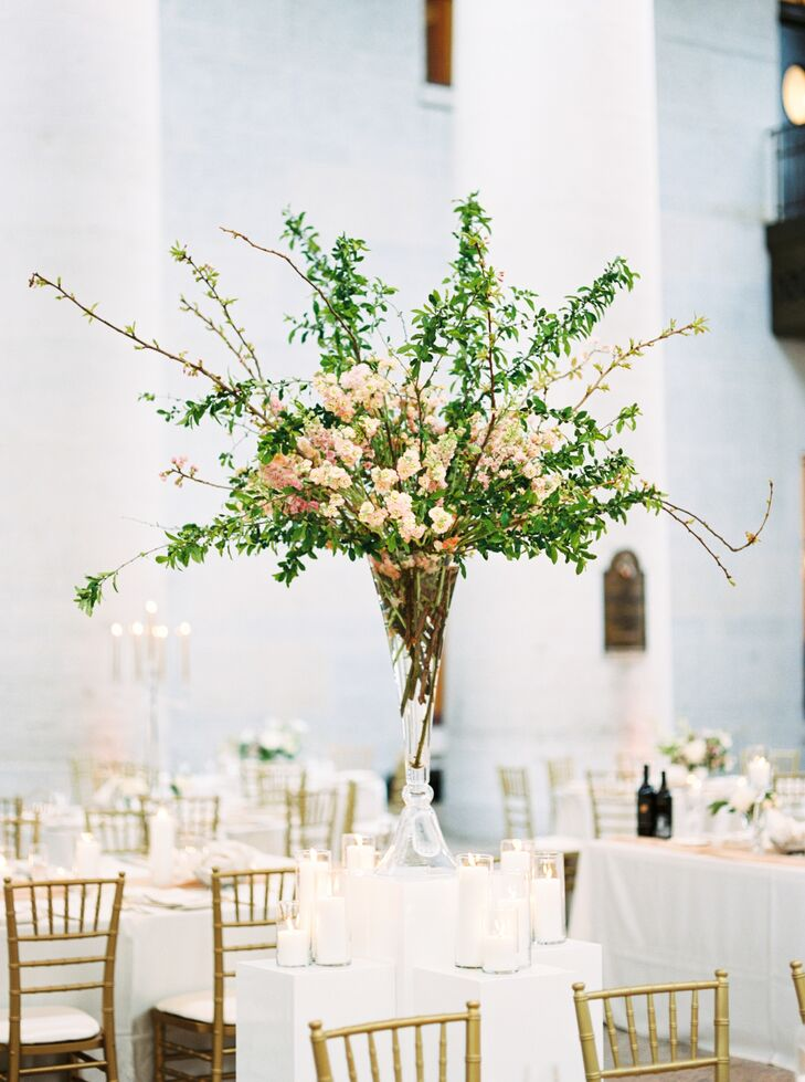 Loose Asymmetric Cherry Blossom Centerpiece