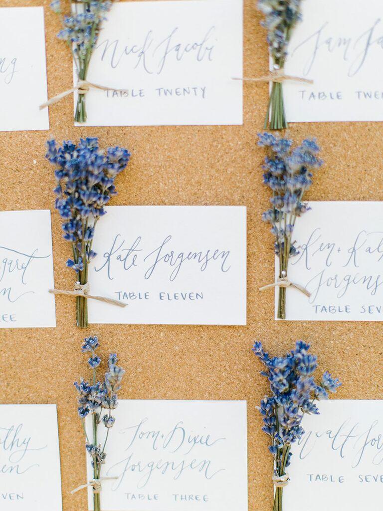 Unique and floral escort card idea