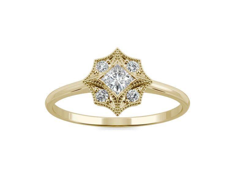 Charles & Colvard signature milgrain square moissanite ring in 14K yellow gold