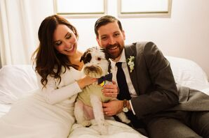Wedding Dog in Vest and Bow Tie