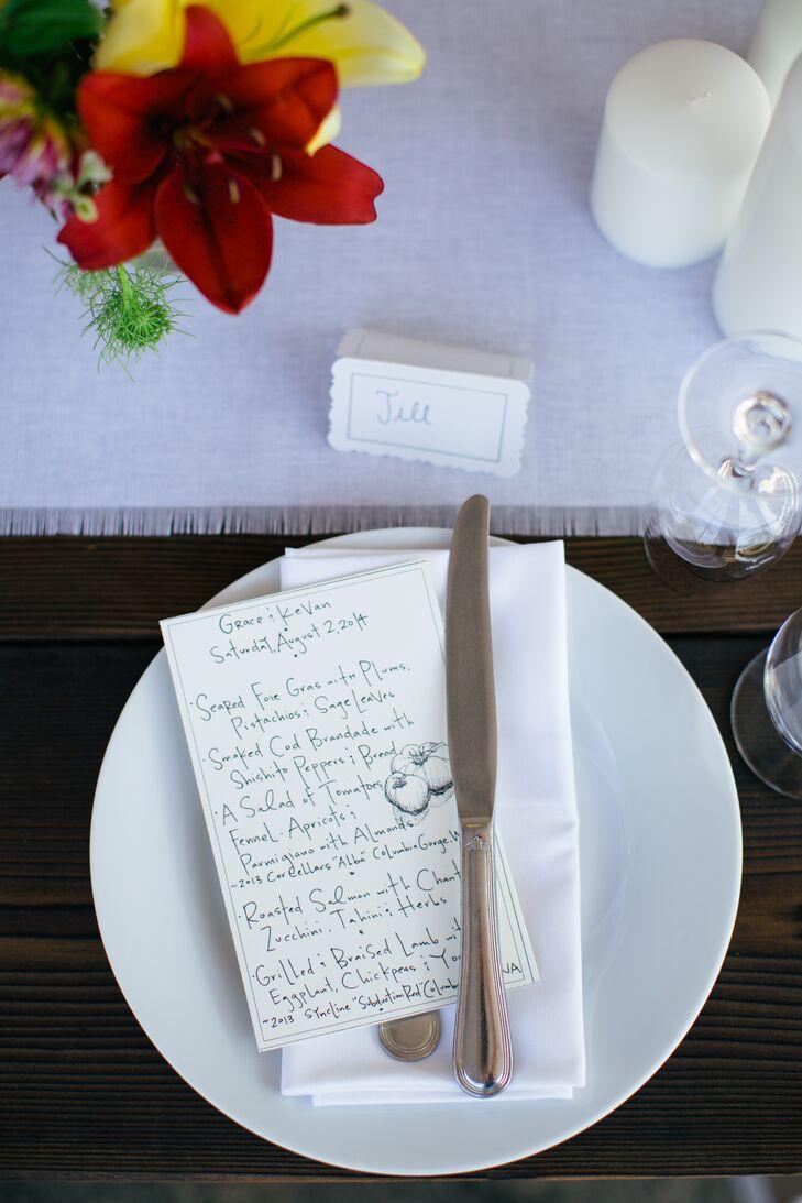 Simple Menu Card on Dinnerware
