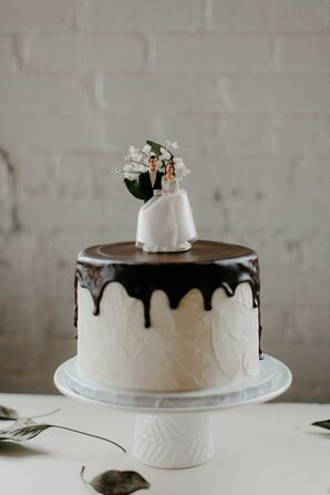 Small Wedding Cake with Vintage Topper and Ganache