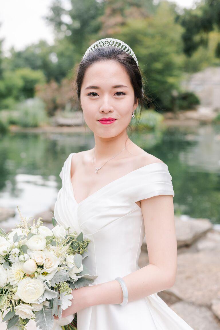 Portrait neckline wedding dress