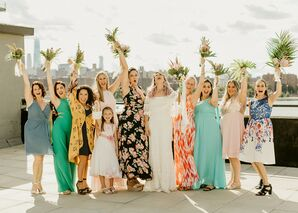 Bridesmaids in Colorful Printed Mismatched Dresses