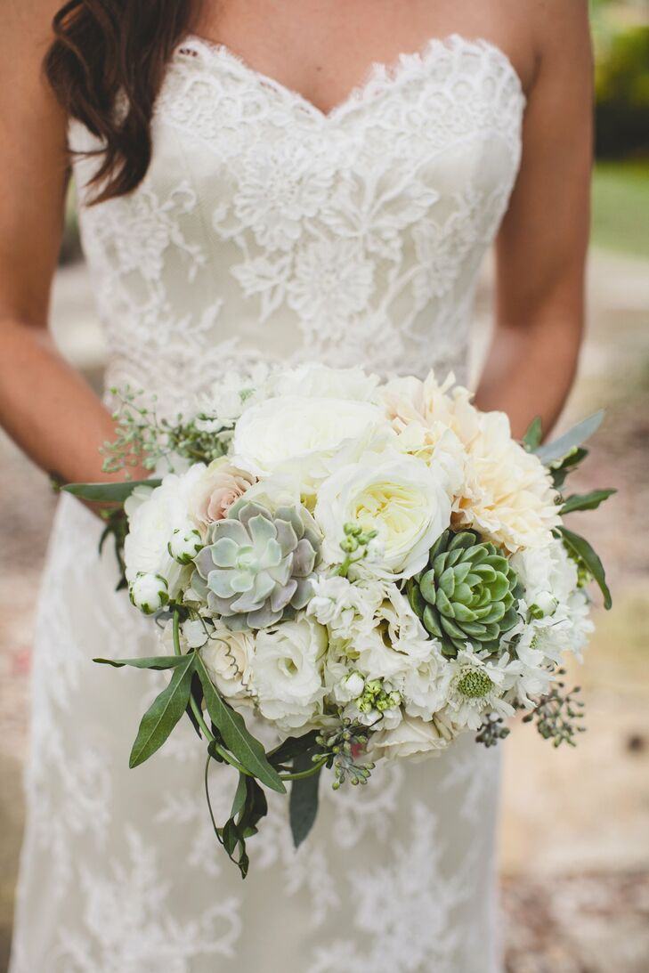 White Peony And Succulent Bridal Bouquet