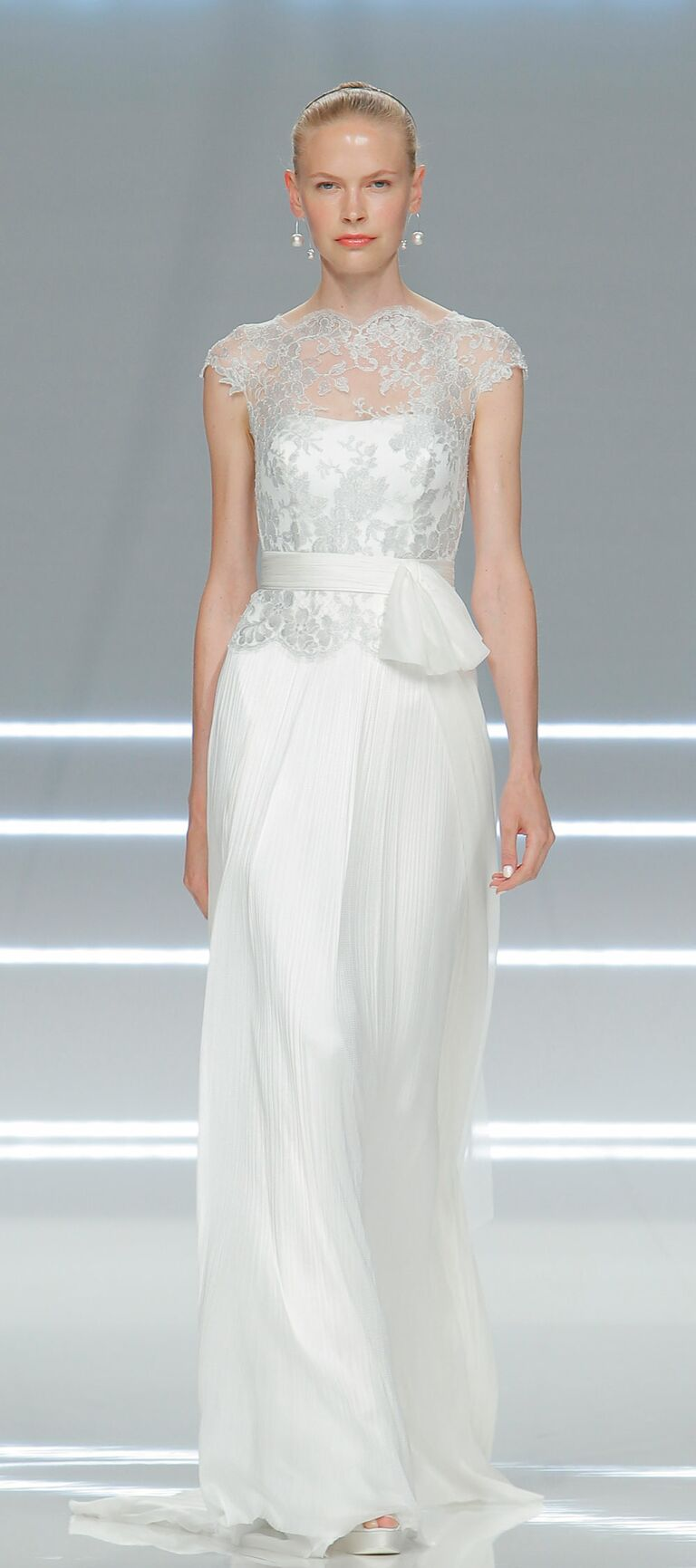 82aed06a423 Rosa Clará 2017 strapless wedding dress with silver lace shirt overlay and  sash