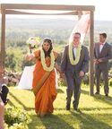 Bride and groom ceremony recessional at interfaith wedding