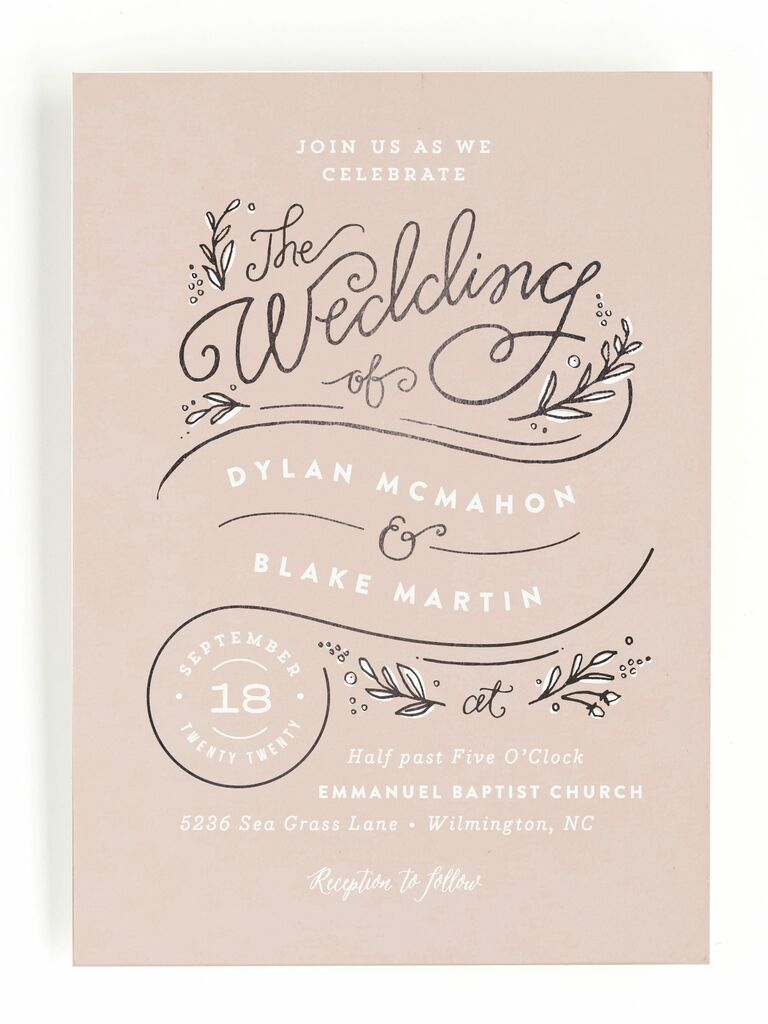 Whimsical pink Minted spring wedding invitation