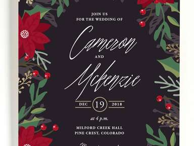 Poinsettia winter wedding invitation
