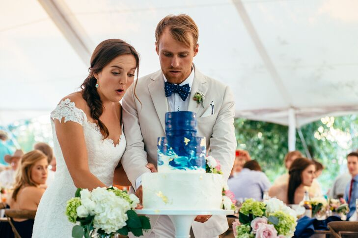 Gold and Navy Watercolor Wedding Cake