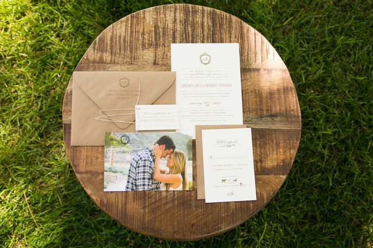 Stationery and paper details included the invitation suite, featuring a save-the-date with a photo of the couple, stickers as favors and all the signs. The same group created custom cigar stickers and an L&B logo.