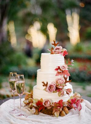 Romantic Cake with Roses and Fall Leaves