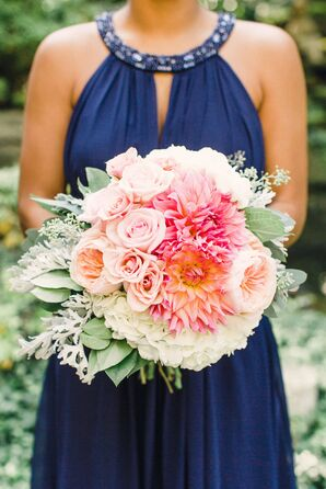 Pink Bouquet with Roses, Hydrangea and Cafe au Lait Dahlias